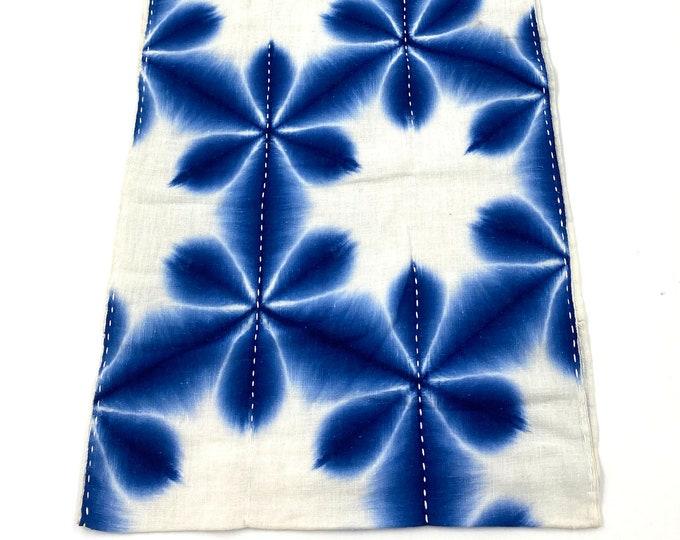Japanese Shibori. Indigo Shibori. Japanese Cotton. Japanese Sashiko. Japanese Indigo. Antique Folk Textile. Antique Cotton. Blue and White