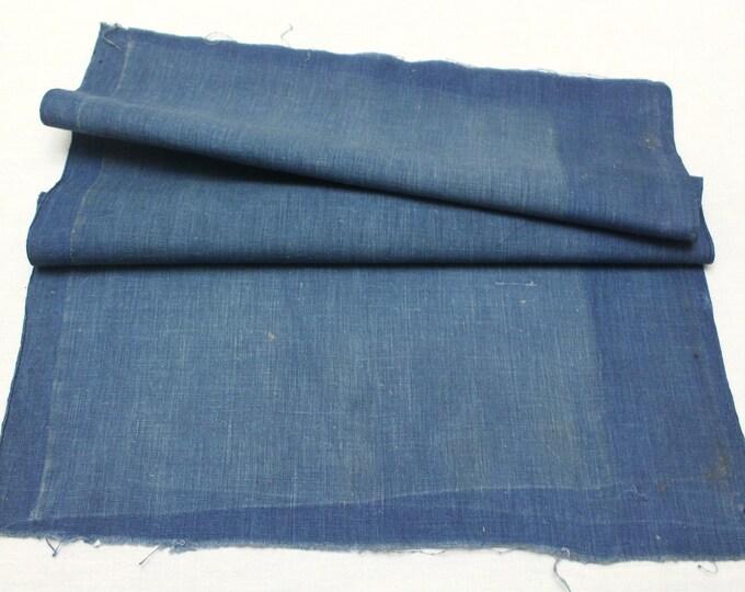 Japanese Indigo Cotton Scrap. Artisan Aizome Boro Textile. Blue Vintage Folk Fabric (Ref: 1834)