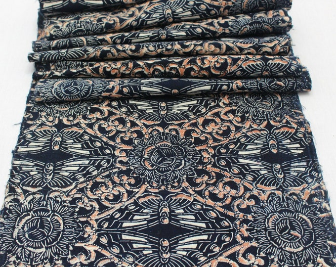 EXCEPTIONAL Japanese Katazome Cotton. Boro Textile. Natural Indigo Stencil Dyed Folk Fabric  (Ref: 1969)