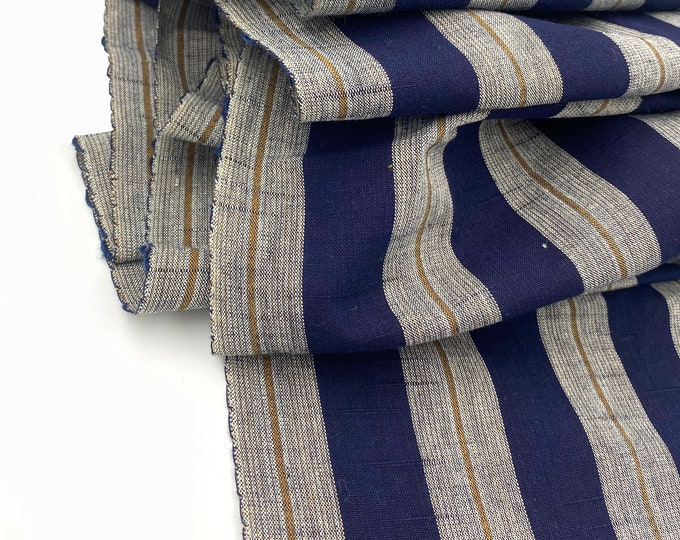 Japanese Fabric. Japanese Cotton. Japanese Ikat. Striped Cotton. Indigo Blue Cotton. Hand Woven Cotton. Vintage Fabric. Striped Cotton.