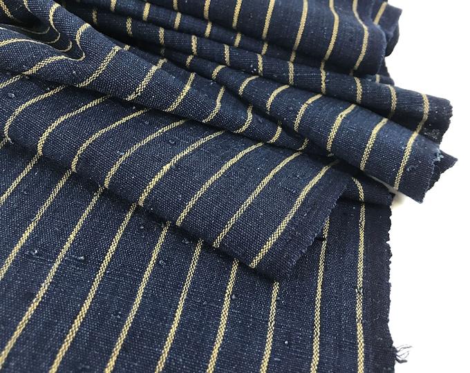 Japanese Ikat Cotton. Vintage Indigo. Shima Panel. Japanese Fabric. Striped Cotton. Dark Blue. Vintage Japanese. Indigo Fabric.