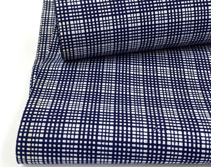 Japanese Vintage. Yukata Cotton. Blue and White. Japanese Cotton. Fine Plaid Fabric. Japanese Indigo. Yukata Bolt. Geometric Cotton.
