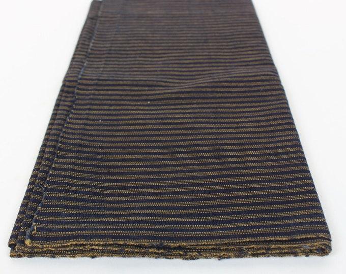 Japanese Vintage. Indigo Cotton. Hand Woven. Striped Cotton. Striped Indigo. Folk Fabric. (Ref: 2070/2071)