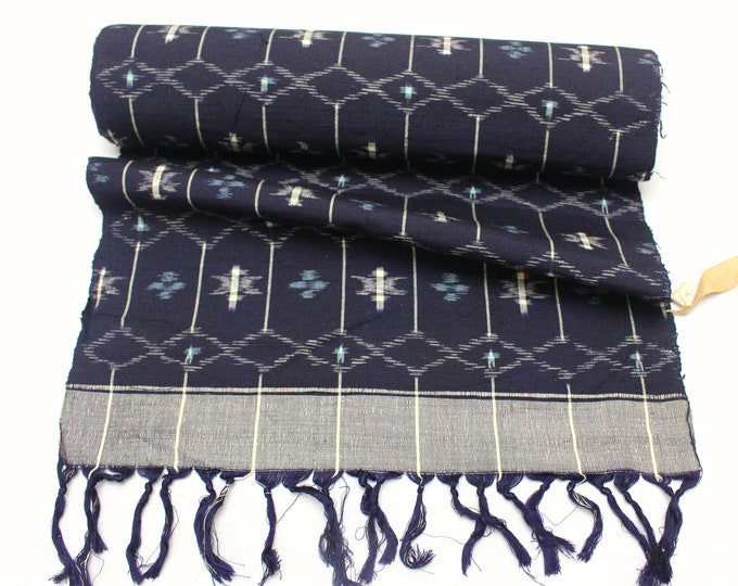 Japanese Indigo Ikat Cotton. Traditional Bolt of Fabric. (Ref: 1931)