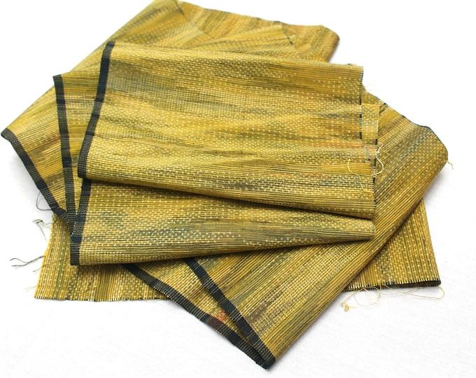 Vintage Japanese Silk Ikat Scraps. Artisan Woven Fabric. Kimono Silk (Ref: 1554)