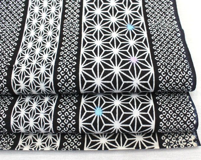 Japanese Vintage Yukata Cotton. Blue White Geometric Fabric Bolt (Ref: 1987 )