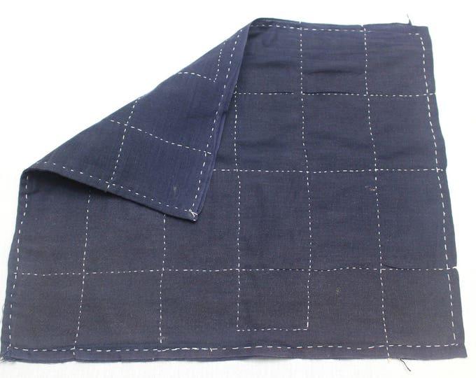 Japanese Zoukin Cloth. Antique Handmade Floor Cloth. Layered Indigo Cotton Sashiko Textile. Place Mat. (Ref: 1436)
