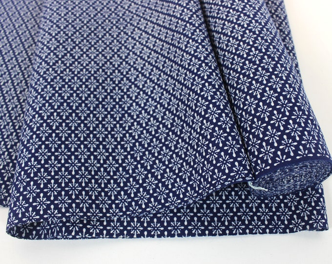 Vintage Japanese. Yukata Bolt. Blue and White. Geometric Cotton. Japanese Cotton. Geometric Fabric. Japanese Indigo. Indigo Cotton. (2087)