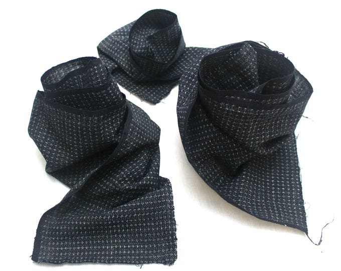 SCRAPS Hand Loomed Antique Cotton. Japanese Kasuri Kagasuri Ikat. Dark Indigo Blue Black. (Ref: 1589D/E/F)