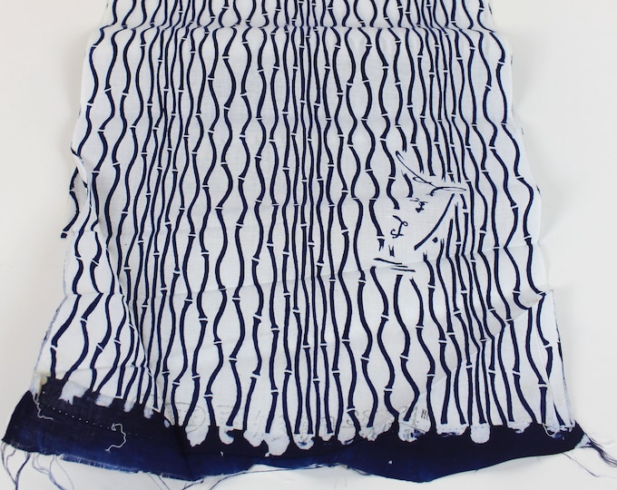 Japanese Cotton. Yukata Cotton. Vintage Japanese. White and Blue Cotton. Hand Dyed Cotton. Bamboo Design. Cotton Bolt. Vintage Fabric