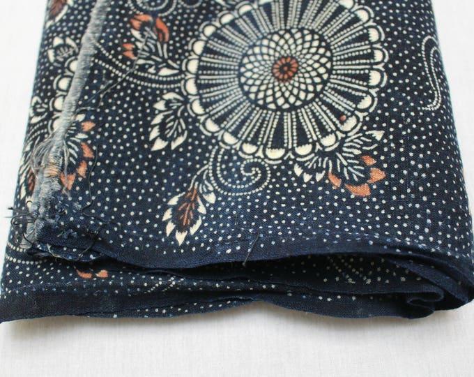 Japanese Katazome Cotton. Boro Textile. Natural Indigo Stencil Dyed Folk Fabric
