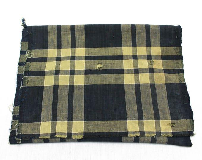 Japanese Vintage Kasuri Ikat. Woven Indigo Cotton Scrap. Traditional Folk Fabric. (Ref: 1758E)