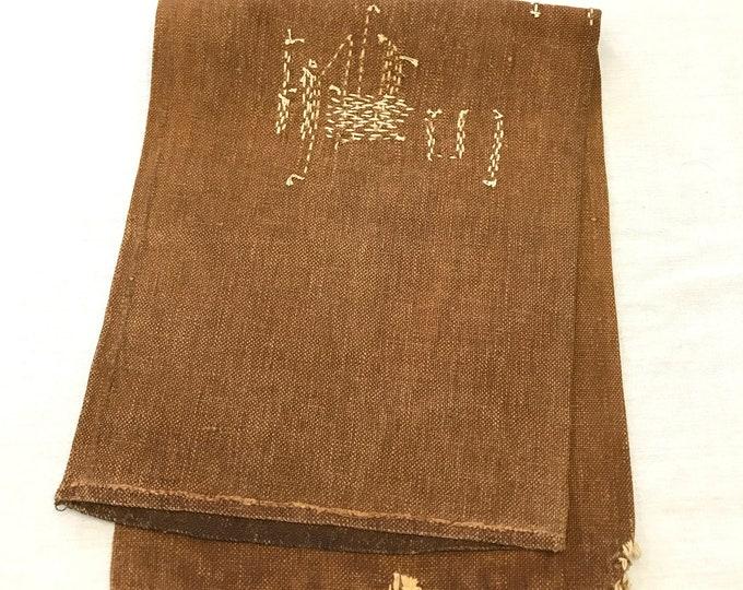 Sakabukuro. Japanese Antique Industrial Sack. Collectible Hand Made Sake Bag. (1940)