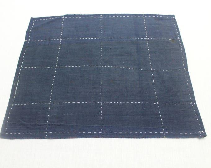 Japanese Zoukin Cloth. Antique Handmade Floor Cloth. Layered Indigo Cotton Sashiko Textile. Place Mat. (Ref: 1441)