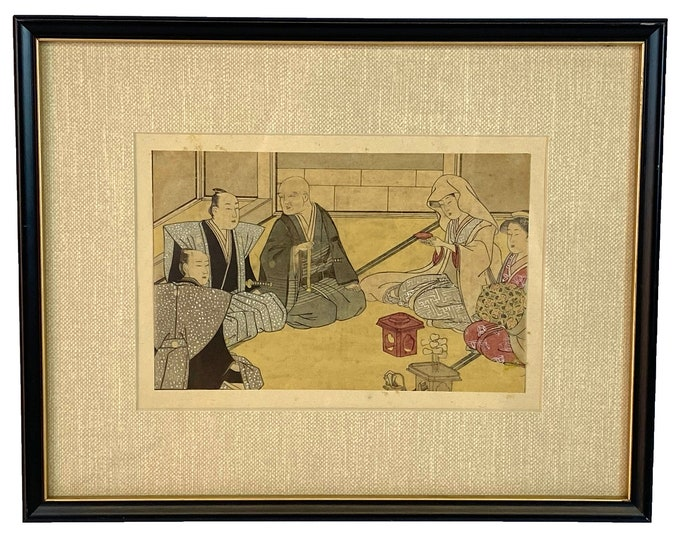 Original Ukiyo-e. Antique Ukiyo-e. Japanese Print. Woodblock Print. Framed Ukiyo-e. Framed Wall Art. Japanese Decor. Oriental Wall Art