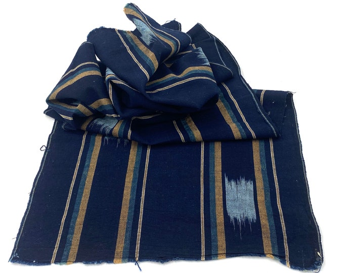 Japanese Indigo Cotton. Vintage Fabric. Kasuri Ikat. Shima Striped Fabric. Hand Loomed. Antique Indigo Folk Textile. Vintage Scarf