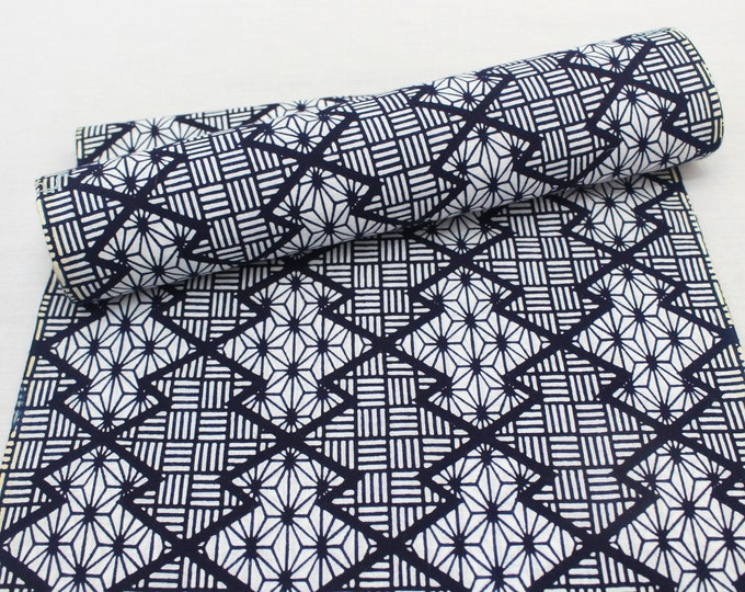Japanese Vintage Yukata Cotton. Blue White Geometric Fabric Bolt (Ref: 1988 )