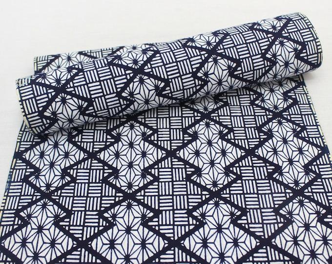 Japanese Cotton. Indigo Dyed Cotton. Geometric Cotton. Vintage Fabric. Yukata Cotton. Blue and White. Japanese Indigo. Geometric Fabric.