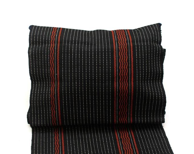 Japanese Sashiko Wool Fabric. Black, Red and White Woven Design. (Ref: 1954)