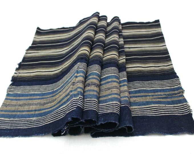 Long Boro Textile. Japanese Indigo Cotton. Artisan Aizome. Blue Vintage Folk Fabric (Ref: 1976)