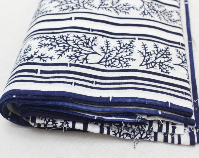 Japanese Vintage Indigo Yukata Cotton. Full Fabric Bolt for Traditional Clothing. Hand Dyed Indigo.  (Ref: 1608A)