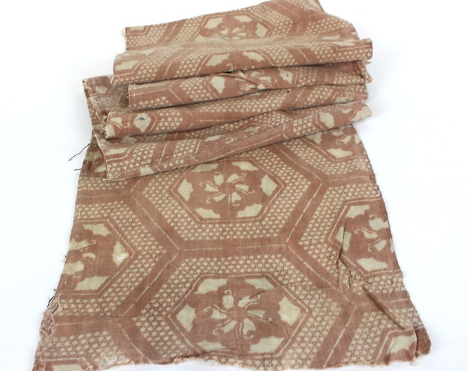 RARE. Japanese Katazome. Kakishibu Cotton. Boro Textile. Natural Dye. Stencil Dyed. Folk Fabric. Geomeetric Design.  (Ref: 1921a)