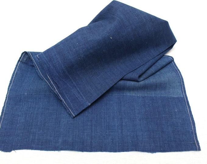 Japanese Indigo Cotton. Artisan Aizome Boro Textile. Blue Vintage Folk Fabric