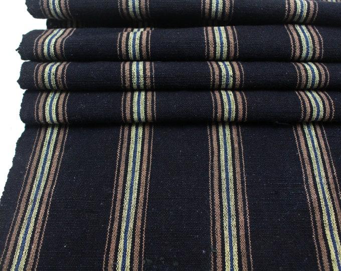 Japanese Vintage Kasuri Ikat. Woven Striped Cotton. Traditional Folk Fabric. (Ref: 1975B)