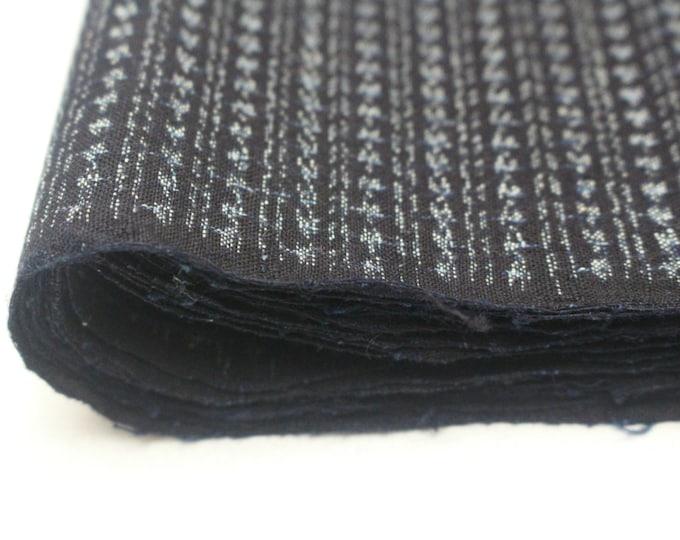 Hand Loomed Antique Cotton. Japanese Kasuri Kagasuri Ikat. Dark Indigo Blue Black Scarf. (Ref: 1601B)