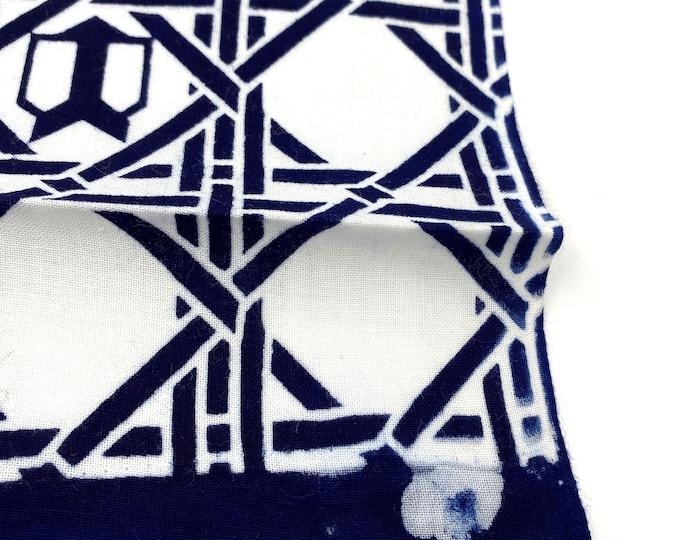 Japanese Cotton. Blue and White. Indigo Hand Dyed. Geometric Cotton. Vintage Fabric. Yukata Cotton Fabric. Light Cotton. Japanese Fabric