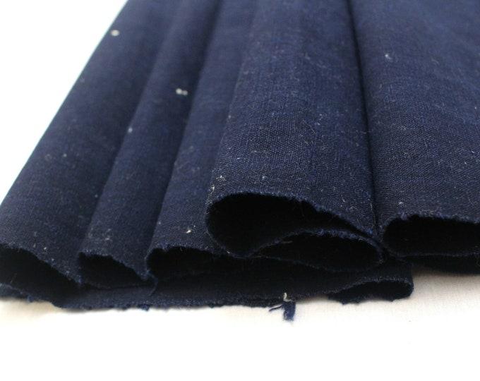 Japanese Indigo Cotton. Artisan Aizome Boro Textile. Blue Vintage Folk Fabric (Ref: 1848)