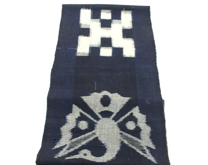 Japanese Vintage Woven Textile. Picture Ikat / Egasuri. Indigo Boro Cotton. Scarf. Fabric. (Ref: 1895)