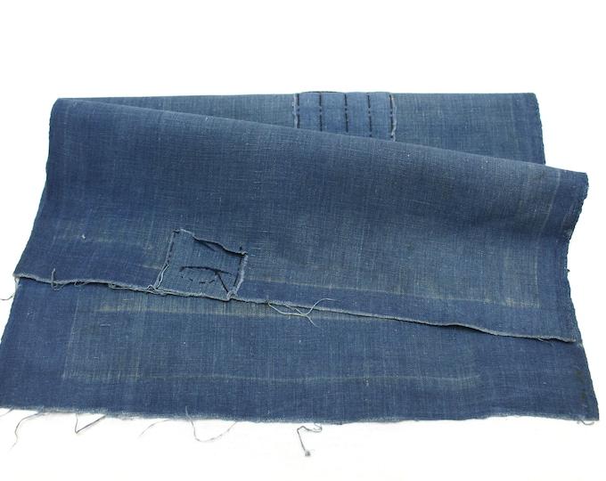 Japanese Indigo Cotton Scrap. Artisan Aizome Boro Textile. Blue Vintage Folk Fabric (Ref: 1832)