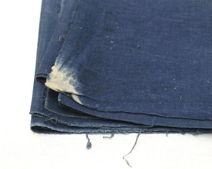 2 Japanese Indigo Cotton Scraps. Artisan Aizome Boro Textile. Blue Vintage Folk Fabric (Ref: 1839/1840)