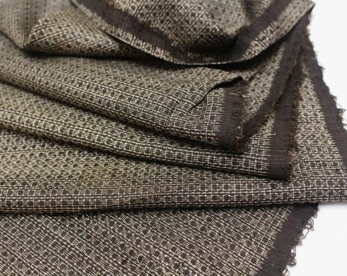 Antique Ooshima Tsumugi Ikat Silk. Japanese Vintage Fabric Scrap. Hand Loomed Textile. Botanical Dye. (Ref: 1559-1)
