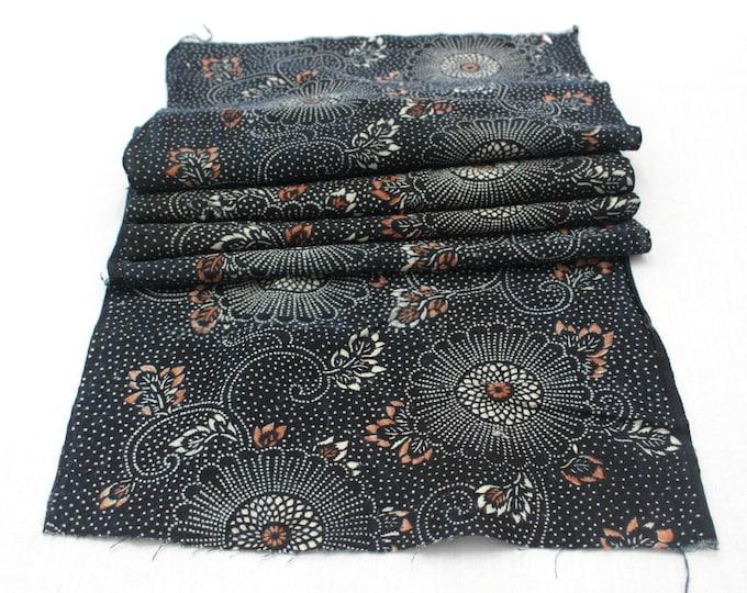 Japanese Katazome Cotton. Boro Textile. Natural Indigo Stencil Dyed Folk Fabric  (Ref: 1997)