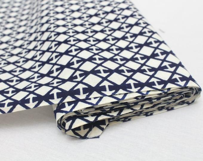 Japanese Vintage Indigo Yukata Cotton. Full Fabric Bolt for Traditional Clothing. Indigo Blue White Geometric (Ref: 1607)