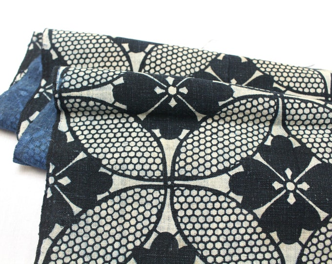 Japanese Katazome Textile. Antique Stenciled Cotton Fabric. Geometric Floral Design (Ref: 1958)