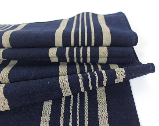 Japanese Ikat Cotton. Vintage Indigo. Shima Panel. Japanese Fabric. Striped Cotton. Dark Blue. Vintage Japanese. Indigo Fabric.