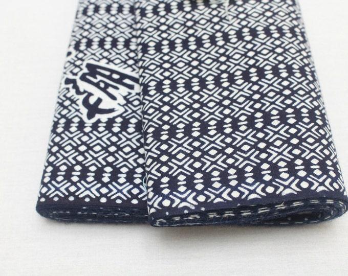 Japanese Vintage Indigo Yukata Cotton. Full Fabric Bolt for Traditional Clothing. Hand Dyed Indigo Blue White Geometric Kanji (Ref: 1451)