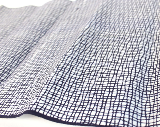Japanese Cotton. Yukata Cotton. Vintage Japanese. Fabric. Hand Dyed. Indigo Dyed. Blue and White. Abstrac. Geometric. Dark Blue Cotton.