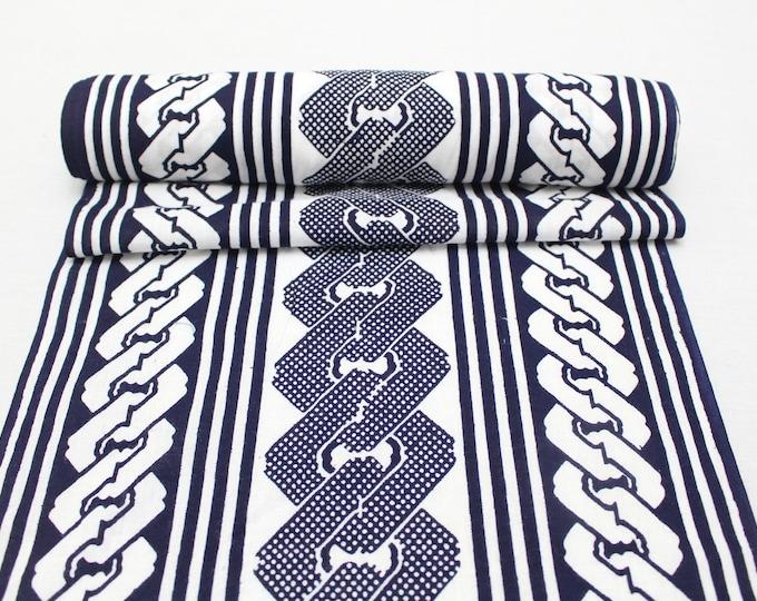 Japanese Vintage Yukata Cotton Fabric. Blue and White Geometric Design (Ref: 1970)