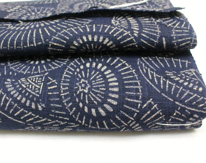 Japanese Katazome Cotton Textile. Natural Indigo Stencil Dyed Folk Fabric  (Ref: 1928)