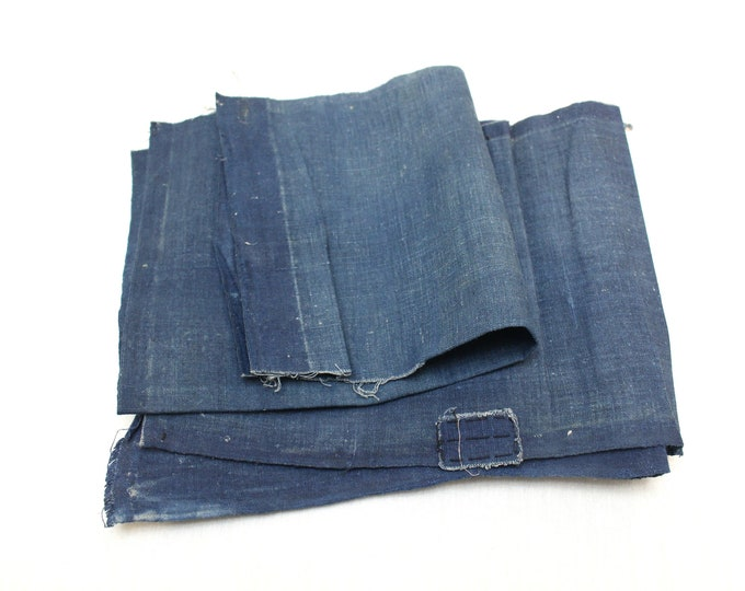 2 Japanese Indigo Cotton Scraps. Artisan Aizome Boro Textile. Blue Vintage Folk Fabric (Ref: 1836/1837)