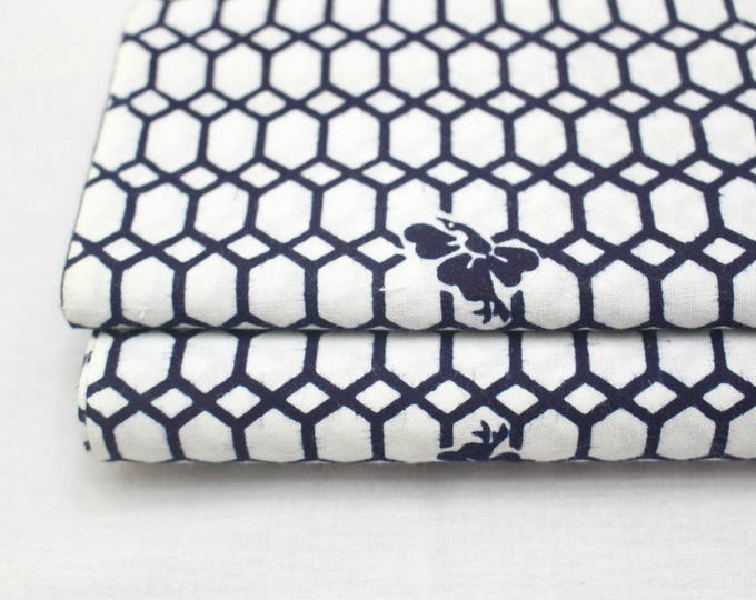 Japanese Vintage Yukata Cotton Fabric. Blue and White Geometric Design (Ref: 1694 )