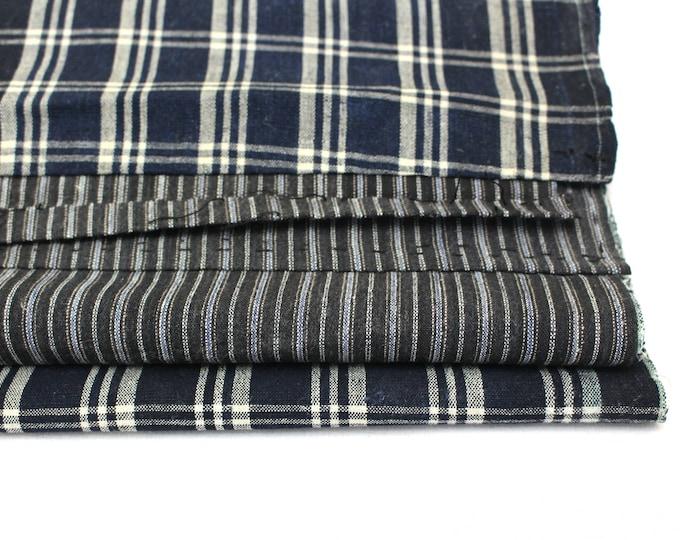 Antique Japanese Boro. Indigo Cotton Ikat Fabric. Folk Textile / Scarf.  (Ref: 1919)