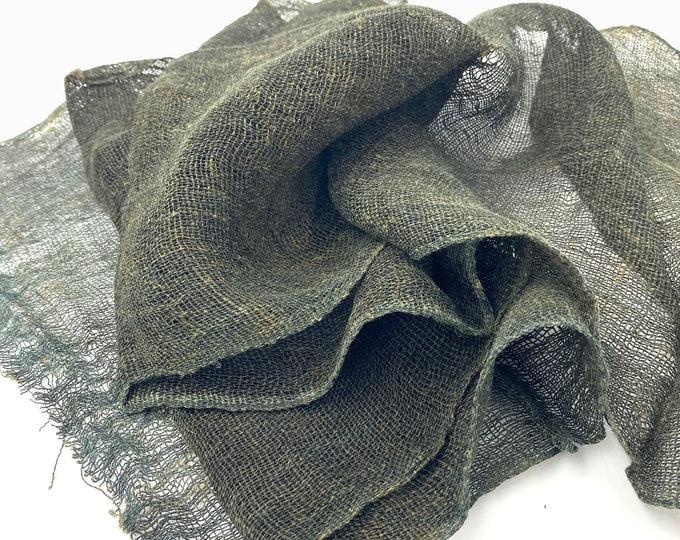 KAYA. Vintage Japanese Boro. Indigo Hemp Textile. Kaya Mosquito Net. Vintage Collectible Fabric. Japanese Hemp. Green Hemp Fabric. Hemp Net