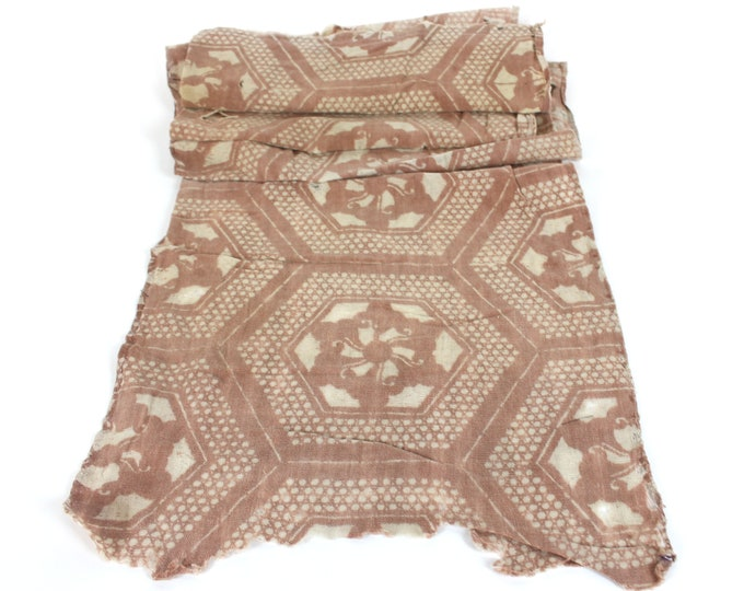 RARE. Japanese Katazome. Kakishibu Cotton. Boro Textile. Natural Dye. Stencil Dyed. Folk Fabric. Geomeetric Design.  (Ref: 1921d)