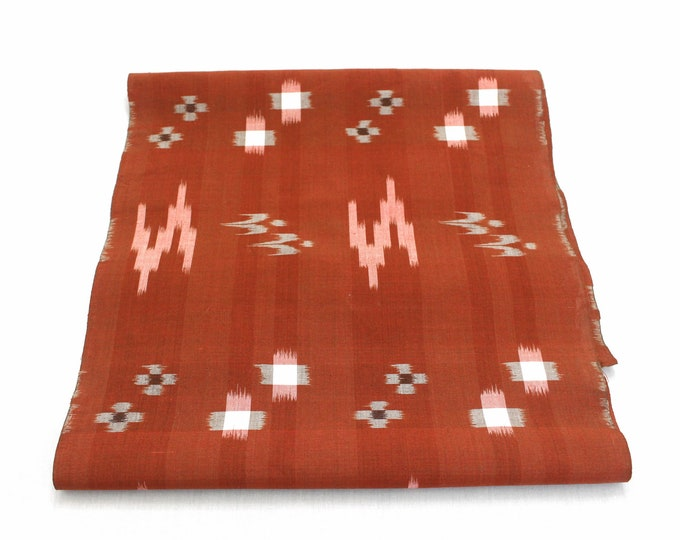 Japanese Vintage Woven Textile. Picture Ikat / Egasuri. Natural Dye Cotton Supply Fabric. (Ref: 1995)