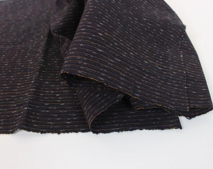 Japanese Vintage. Indigo Cotton. Hand Woven. Striped Cotton. Striped Indigo. Folk Fabric. (Ref: 2069))